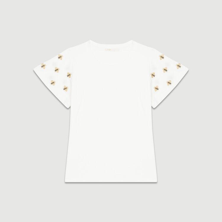 Tee-shirt avec abeilles brodées : T-Shirts couleur ECRU