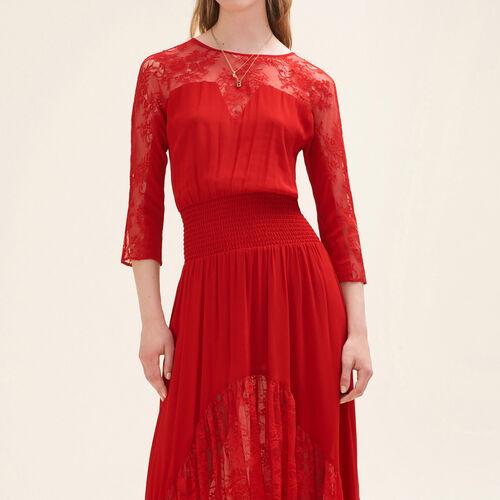 Robe longue en dentelle : Robes couleur Rouge