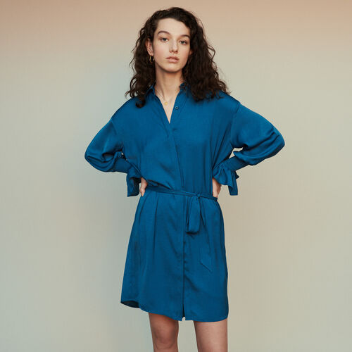 Shirt dress with smocks  : Dresses color Blue