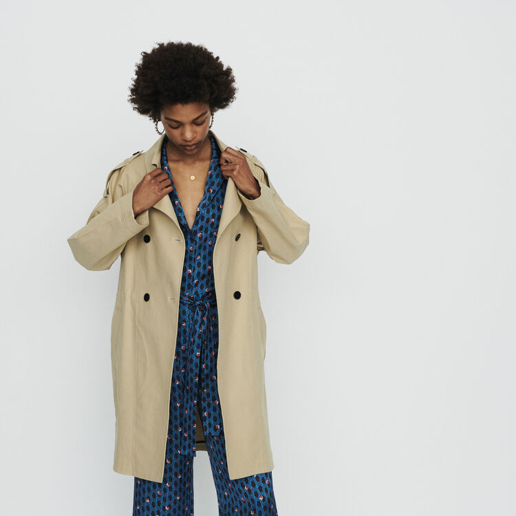 Trench court en toile de coton : Manteaux & Blousons couleur Beige
