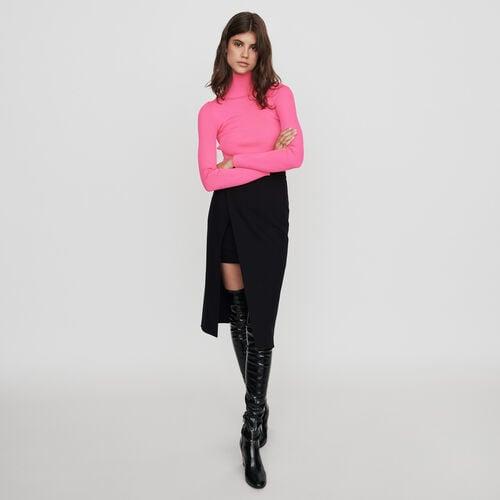 Jupe midi droite et fendue : Jupes & Shorts couleur Noir