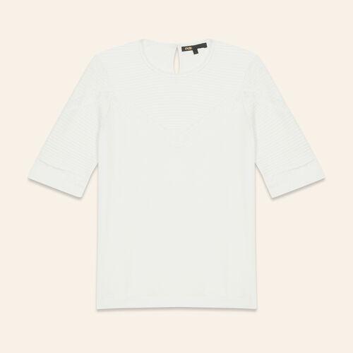 Tee-shirt avec détails en dentelle : T-shirts couleur ECRU