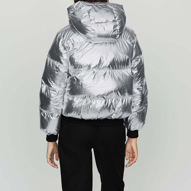 Doudoune courte en Nylon Crinkle : Manteaux couleur Silver