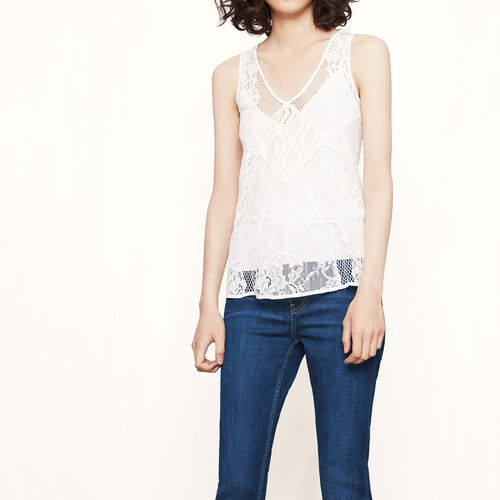 Lace patchwork top : Tops color Ecru