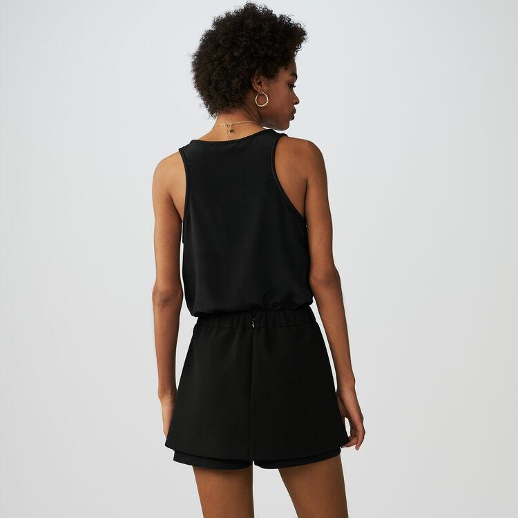Short-jupe en crêpe avec abeilles : Jupes & Shorts couleur Black