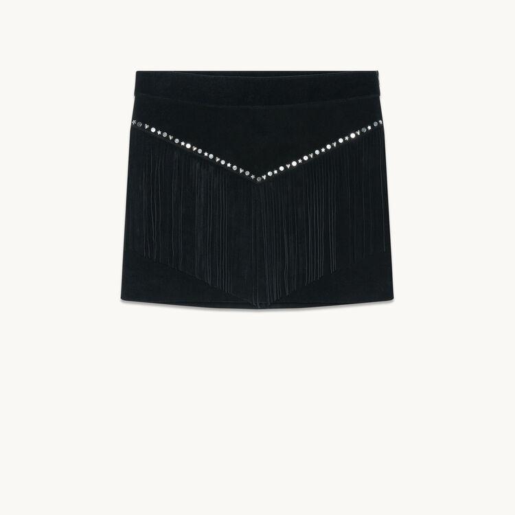 Jupe à franges en velours : Jupes & Shorts couleur Black