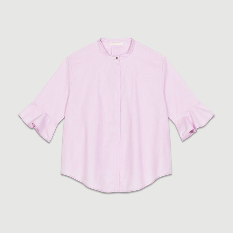 Chemise rayée en popeline : Chemises couleur Rose