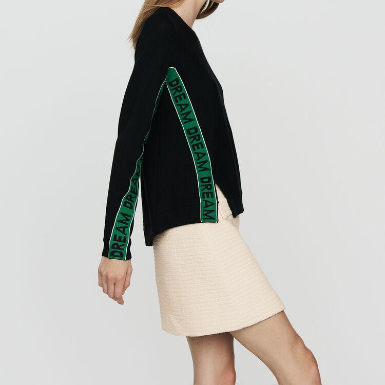 Pull oversize avec inscriptions : Prêt-à-porter couleur Black