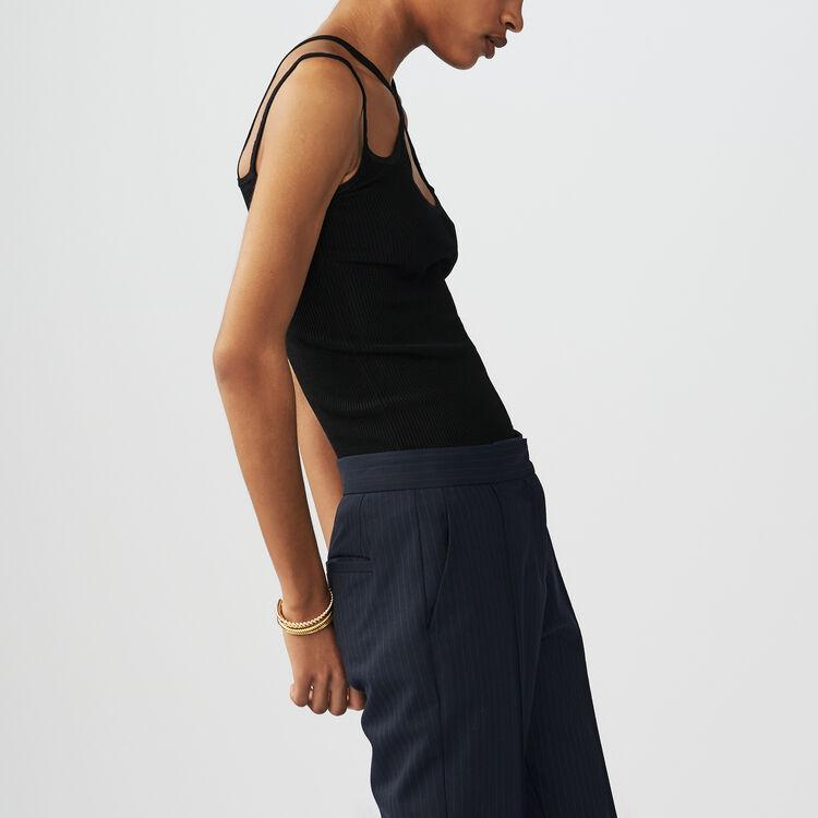 Top en maille à bretelles croisées : Maille couleur Black