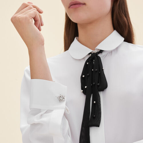 Silk blouse with tulle tie  : Tops color White