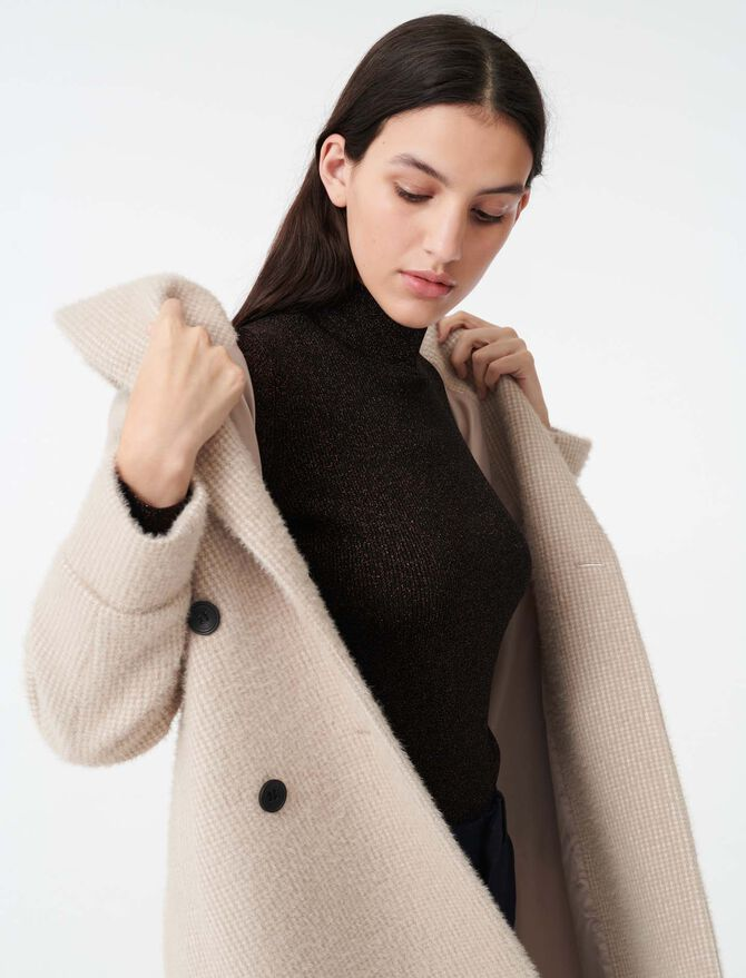 Double-breasted mini houndstooth coat -  - MAJE