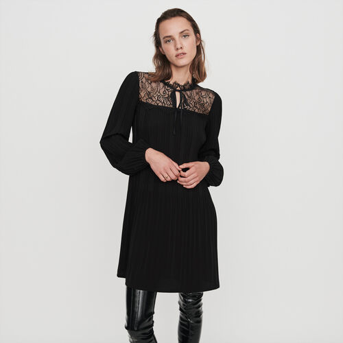 Pleated lace dress : Winter collection color Black