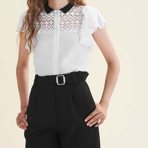 Two-tone frilled blouse with embroidery : Tops color Off White