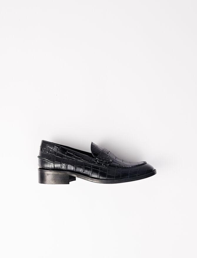 Crocodile-effect calfskin loafers -  - MAJE