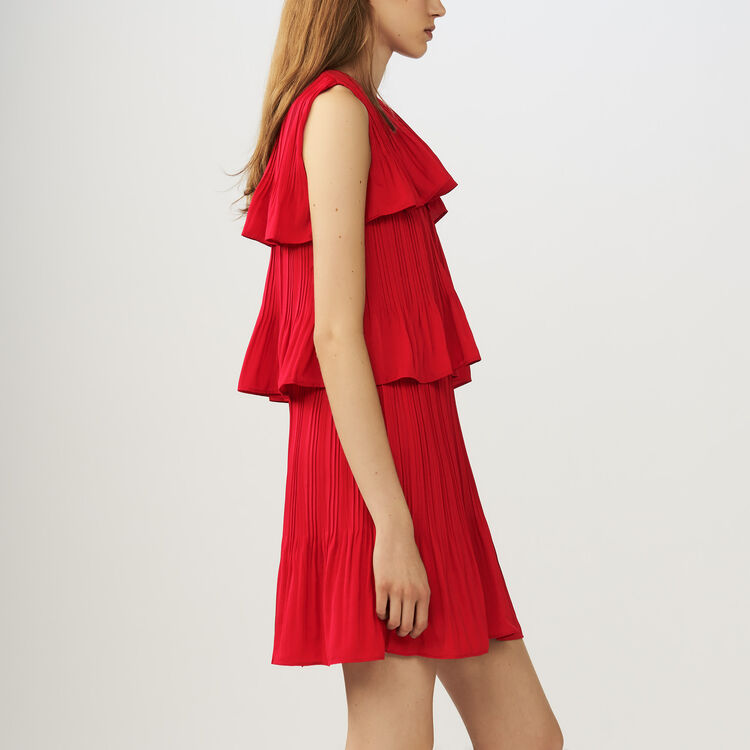 Robe sans manches plissée à volants : Robes couleur ROUGE