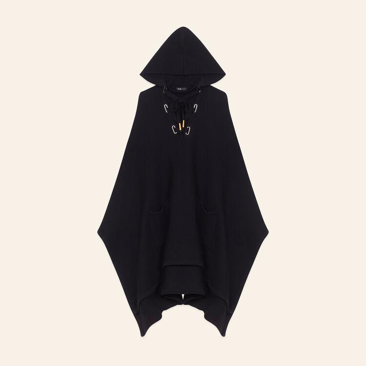 Poncho cape en maille tube : Pulls & Cardigans couleur BLACK