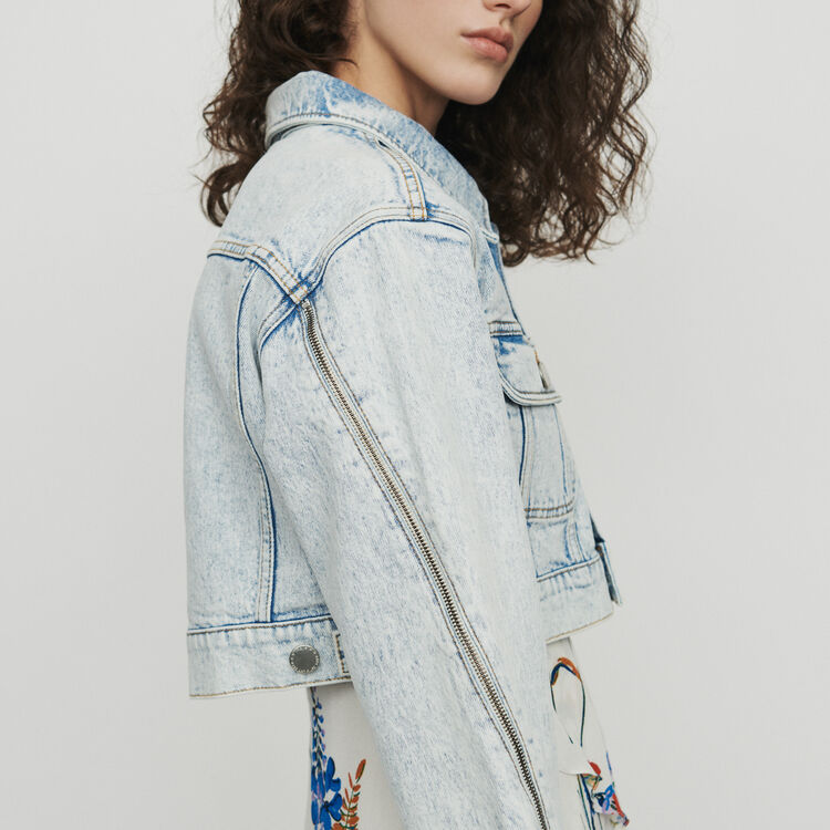 Cropped jacket in faded denim : Blazers color Denim