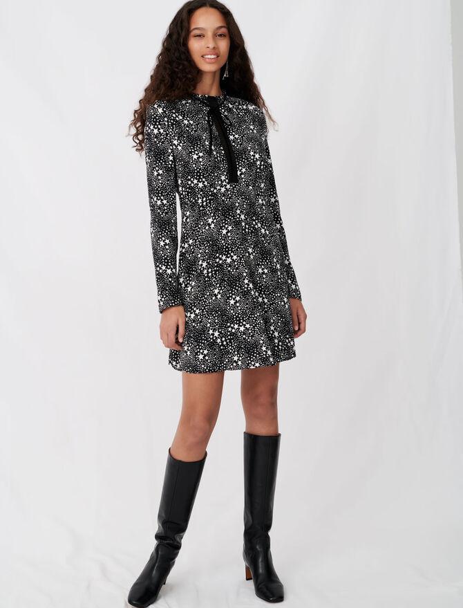 Robe en jacquard imprimé et dentelles - Robes - MAJE