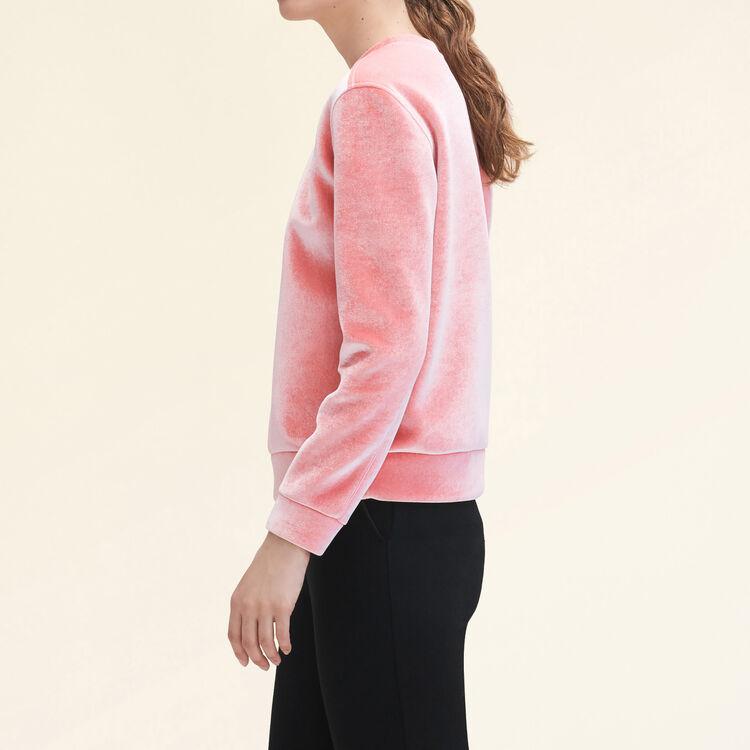 Sweat droit en velours. : null couleur Rose
