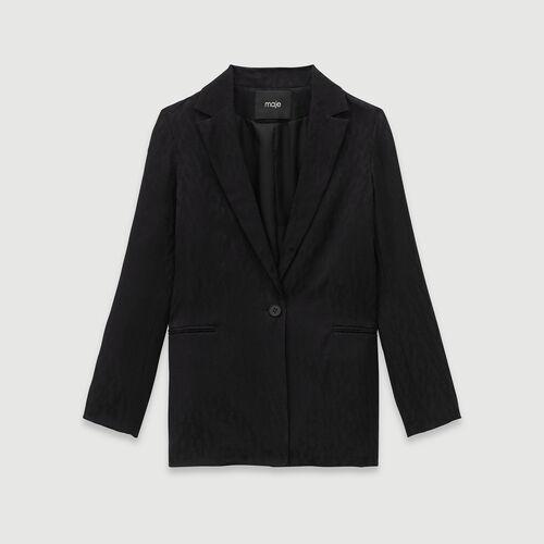 Loose-fit satin jacquard jacket : Winter collection color Black