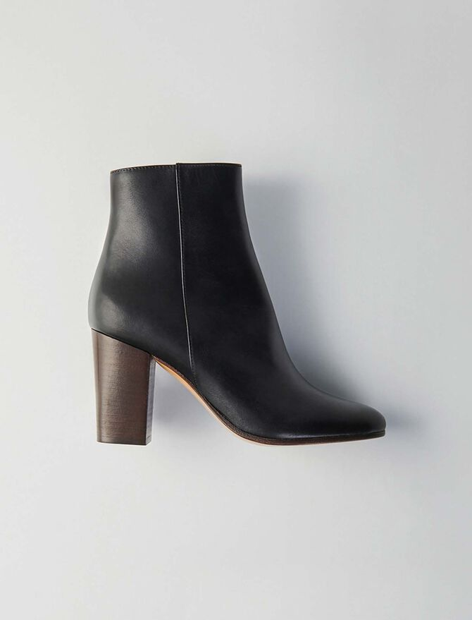 Heeled smooth leather booties - Accessories - MAJE