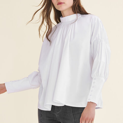 Cotton poplin top : Tops color White