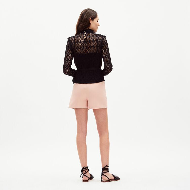 Top en dentelle avec ceinture en satin : Tops couleur Black