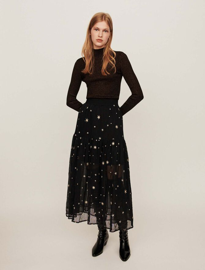 Star-embroidered tulle skirt -  - MAJE