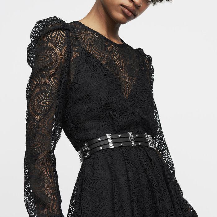 Robe patineuse en dentelle : Robes couleur Black