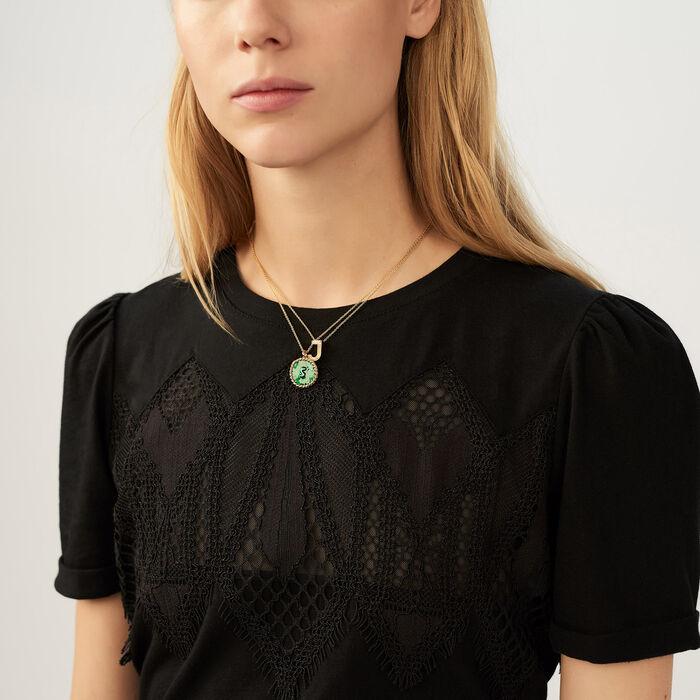 Tee-shirt avec dentelle : T-Shirts couleur Black