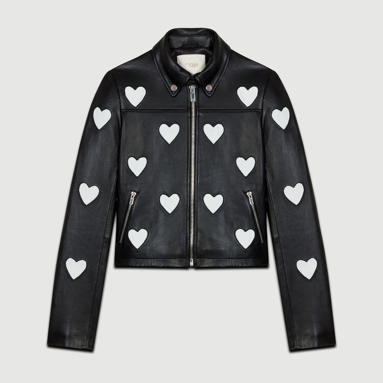 Blouson en cuir avec motif cœur : Blousons couleur Black