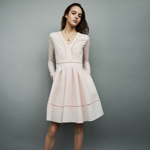Lace skater dress : Dresses color Nude
