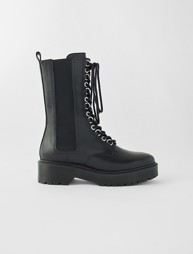 Black leather high-heeled boots - See all - MAJE