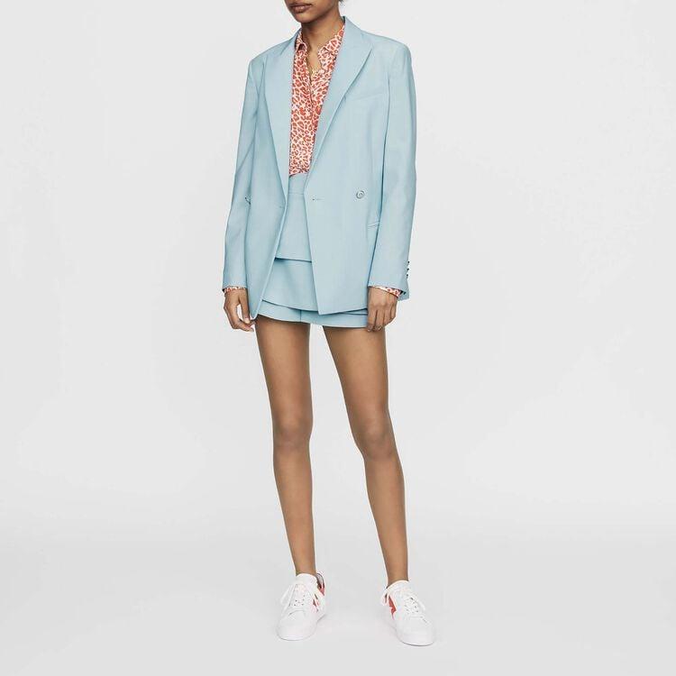 Blazer long en laine mélangée : Prêt-à-porter couleur Bleu Ciel