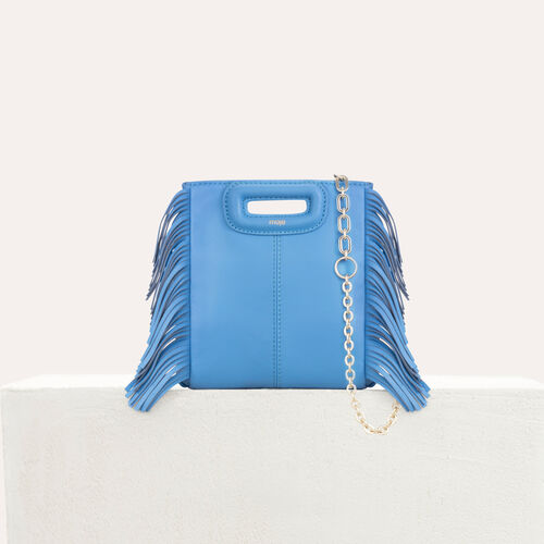 M mini-bag with leather fringes : M Mini color Blue