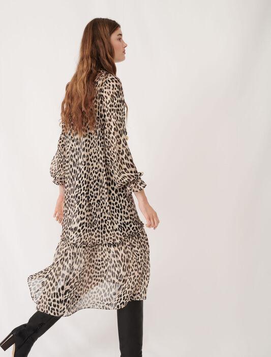 Robe en mousseline imprimée à bijoux : éco-responsable couleur Léopard naturel