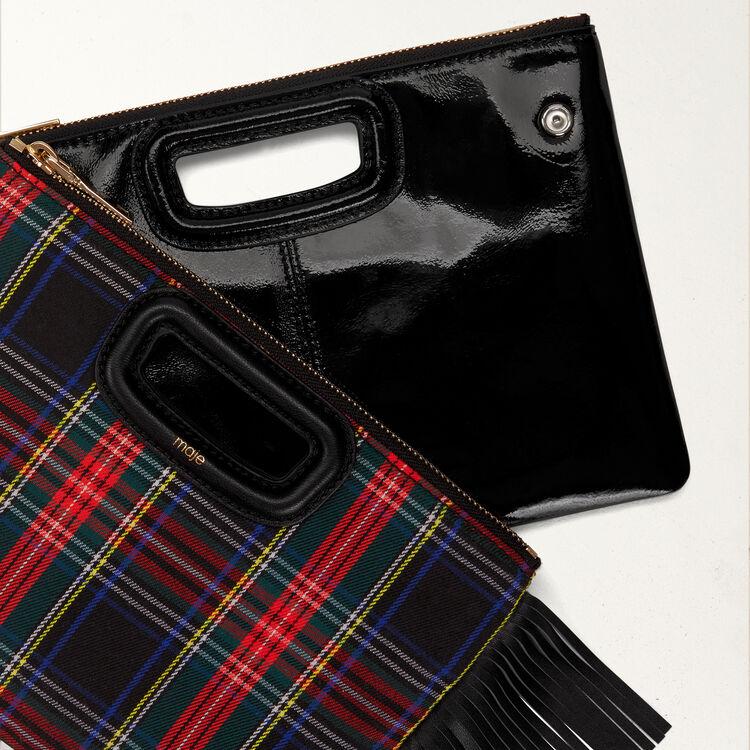 Pochette M Duo en tartan et cuir verni : M Duo couleur BLACK