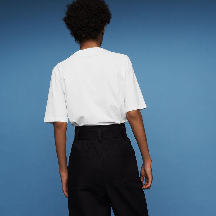 Tee-shirt en coton avec détails perles : Prêt-à-porter couleur Blanc