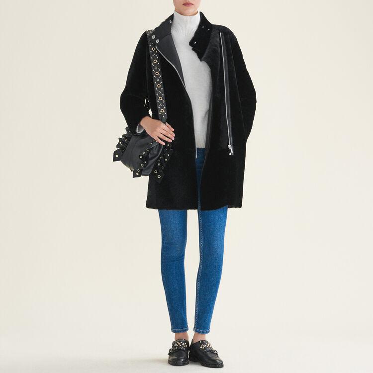 Manteau en peau lainée : Manteaux couleur Black