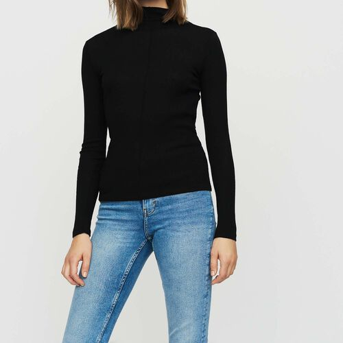 Tee shirt in wool jersey : Ready to wear color BLACK