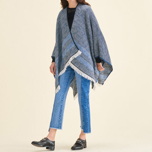 Decorative two-tone knit poncho - Scarves - MAJE