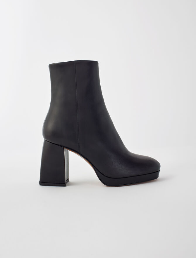 Leather boots with trapeze heel - Booties & Boots - MAJE