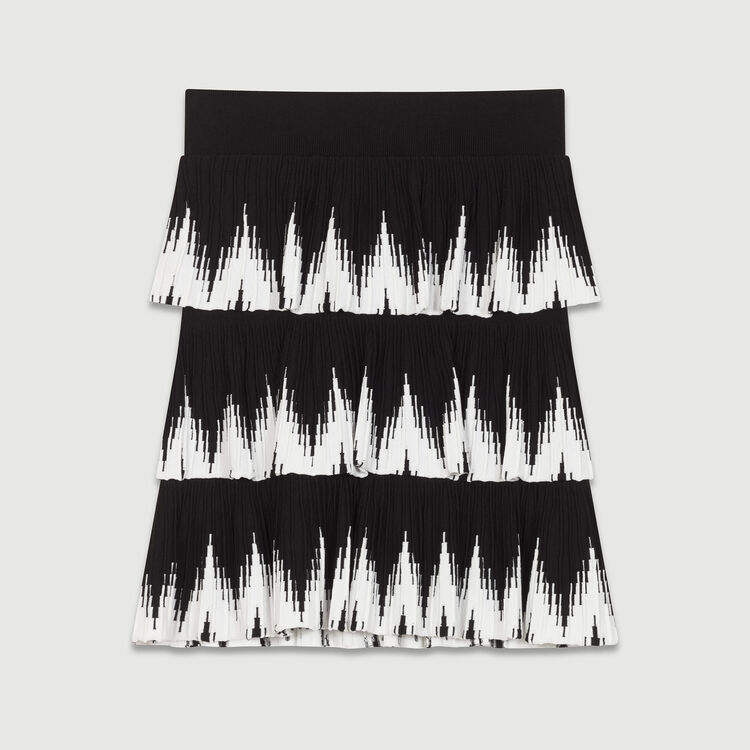 Jupe en maille à volants : Jupes & Shorts couleur Black