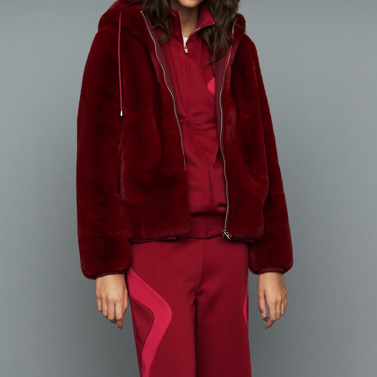 Cropped faux fur jacket : Jackets color Raspberry