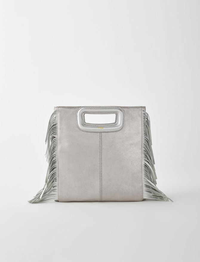 Silver leather M bag -  - MAJE