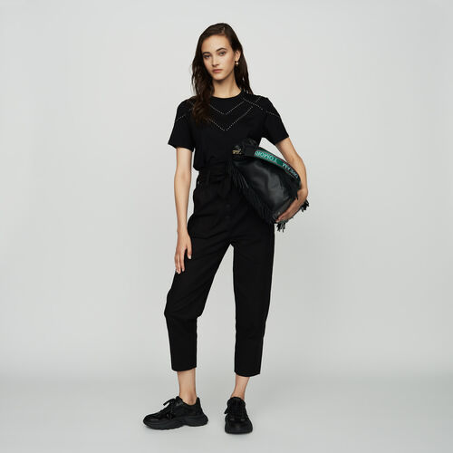 Tee-shirt loose avec studs : SoldesUK-All couleur Black