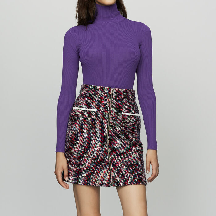 Jupe courte en tweed : Jupes & Shorts couleur Jacquard