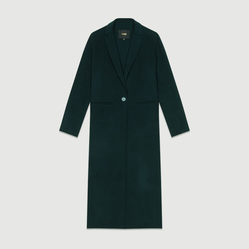Manteau long en laine double face : Manteaux couleur VERT