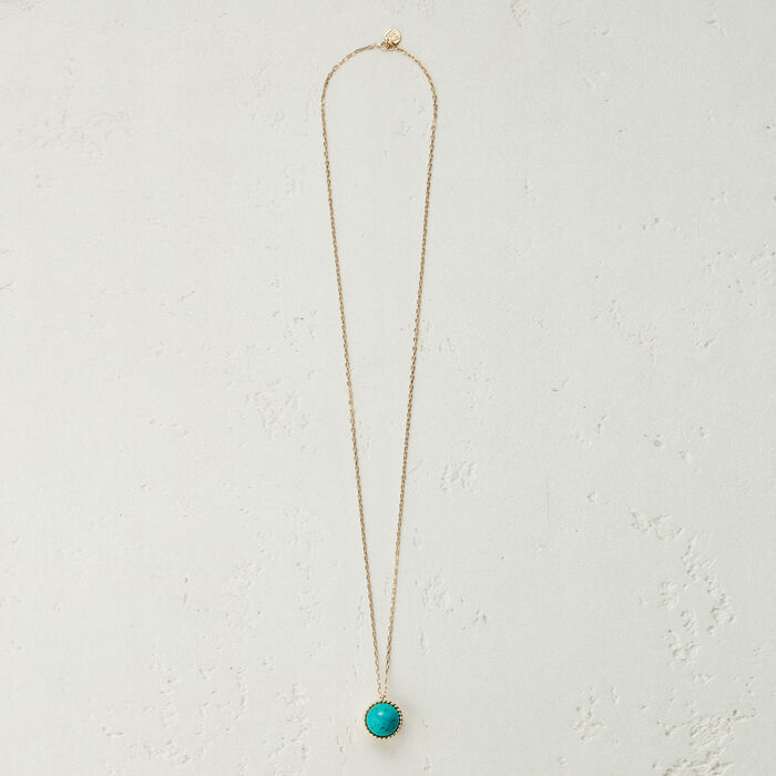 Collier long avec pendentif en pierre : Bijoux couleur BLEU AZUR