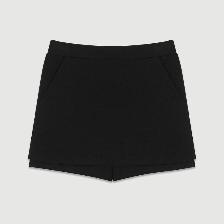 Short-jupe en crêpe : Jupes & Shorts couleur Black